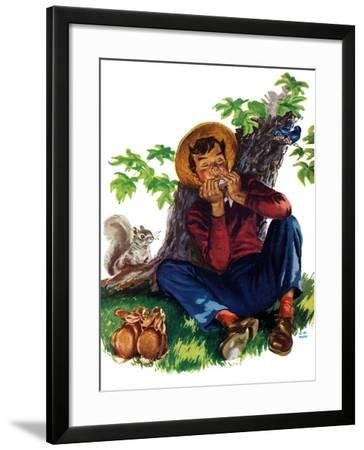 Boy Playing Harmonica - Child Life-Keith Ward-Framed Giclee Print