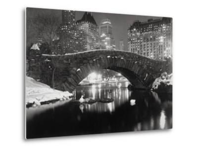 New York Pond in Winter-Bettmann-Metal Print