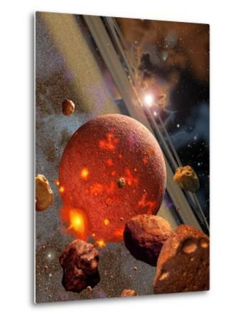 The Primordial Earth Being Formed by Asteroid-Like Bodies-Stocktrek Images-Metal Print