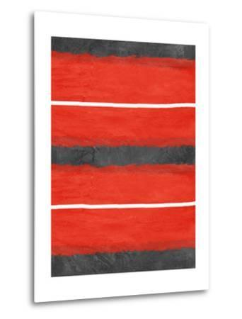 Grey and Red Abstract 3-NaxArt-Metal Print