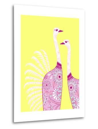 Ostrich Girls--Metal Print