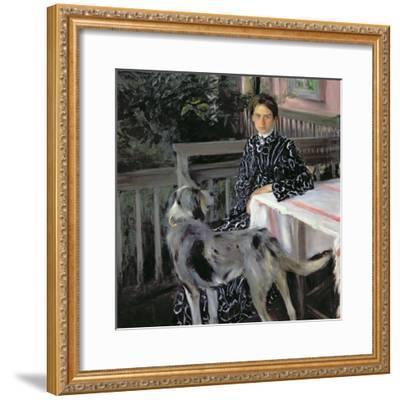 Portrait of Yulia Yevstafievna Kustodieva (1880-1942) the Artist's Wife, 1903-Boris Kustodiyev-Framed Giclee Print