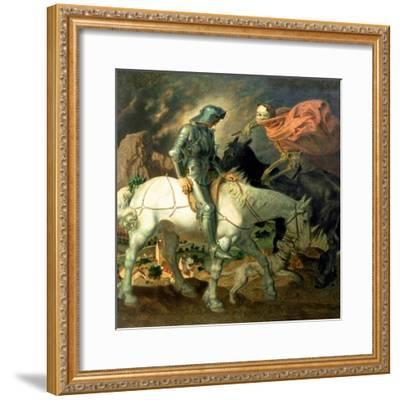 Don Quixote with Death, Based on 'The Knight, Death and the Devil' by Albrecht Durer (1471-1528),…-Theodor Baierl-Framed Giclee Print