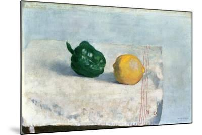 Pepper and Lemon on a White Tablecloth, 1901-Odilon Redon-Mounted Giclee Print