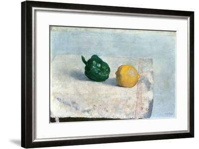 Pepper and Lemon on a White Tablecloth, 1901-Odilon Redon-Framed Giclee Print