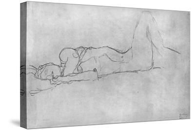 Reclining Female Nude, c.1914-Gustav Klimt-Stretched Canvas Print