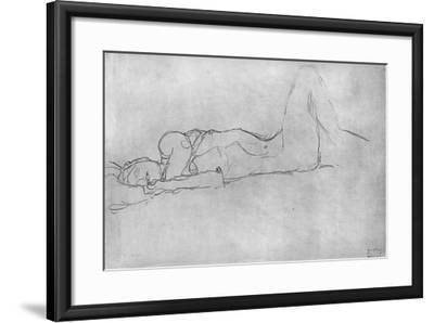Reclining Female Nude, c.1914-Gustav Klimt-Framed Giclee Print