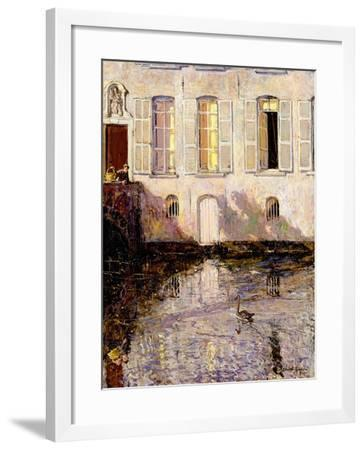 Feeding the Swans, Bruges, 1921-Alexander Jamieson-Framed Giclee Print