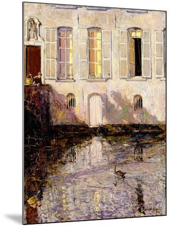 Feeding the Swans, Bruges, 1921-Alexander Jamieson-Mounted Giclee Print