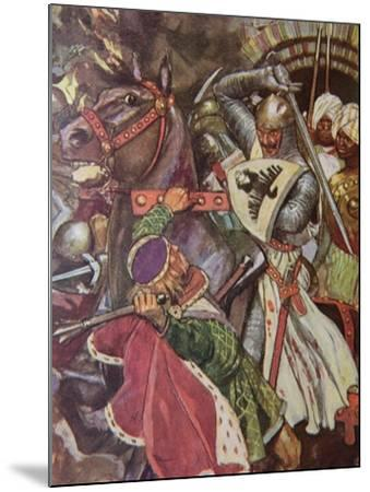 """""""Turn, False Hearted Templar!. Let Go Her Whom Thou Art Unworthy to Touch!."""", Illustration from…-Maurice Greiffenhagen-Mounted Giclee Print"""