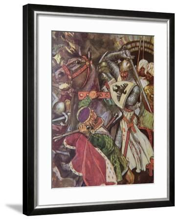 """""""Turn, False Hearted Templar!. Let Go Her Whom Thou Art Unworthy to Touch!."""", Illustration from…-Maurice Greiffenhagen-Framed Giclee Print"""