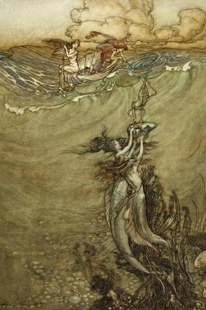 Jewels from the Deep, 1909-Arthur Rackham-Stretched Canvas Print