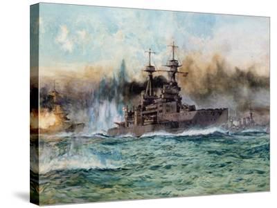 H.M.S Vanguard at the Battle of Jutland, 1924-Charles Edward Dixon-Stretched Canvas Print