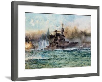 H.M.S Vanguard at the Battle of Jutland, 1924-Charles Edward Dixon-Framed Giclee Print
