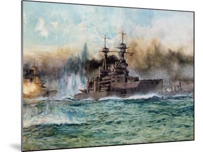 H.M.S Vanguard at the Battle of Jutland, 1924-Charles Edward Dixon-Mounted Giclee Print