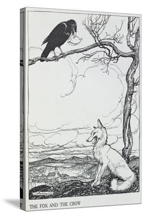 The Fox and the Crow, Illustration from 'Aesop's Fables', Published by Heinemann, 1912-Arthur Rackham-Stretched Canvas Print