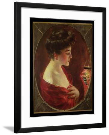 Woman with Japanese Lantern-James Carroll Beckwith-Framed Giclee Print