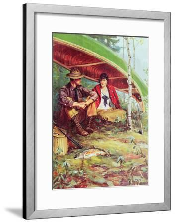 Couple Taking Shelter from the Rain under a Boat-Philip Russell Goodwin-Framed Giclee Print