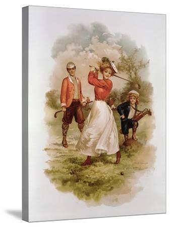 Golfing-Ellen Hattie Clapsaddle-Stretched Canvas Print