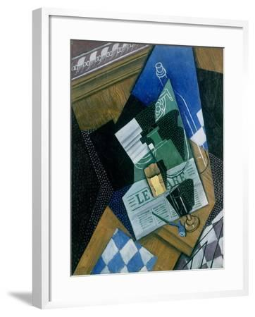 Still Life with Water Bottle, Bottle and Fruit Dish, 1915-Juan Gris-Framed Giclee Print