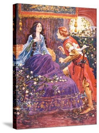 The Prince Awakens the Sleeping Beauty, Illustration for 'Children's Stories from Tennyson' by…-Gordon Frederick Browne-Stretched Canvas Print