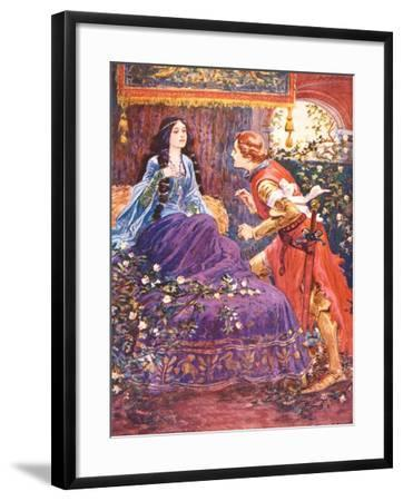 The Prince Awakens the Sleeping Beauty, Illustration for 'Children's Stories from Tennyson' by…-Gordon Frederick Browne-Framed Giclee Print