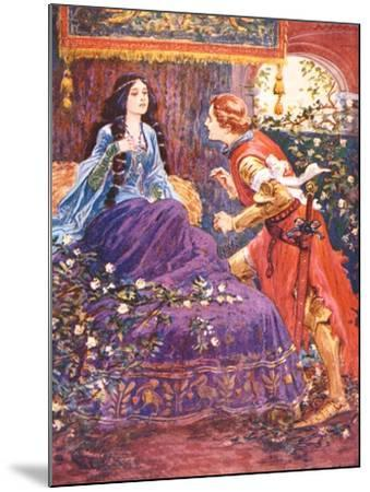 The Prince Awakens the Sleeping Beauty, Illustration for 'Children's Stories from Tennyson' by…-Gordon Frederick Browne-Mounted Giclee Print