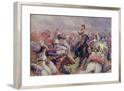 The Charge of the Heavy Brigade Against the French Cuirassiers at Waterloo, from 'British Battles…-Christopher Clark-Framed Giclee Print