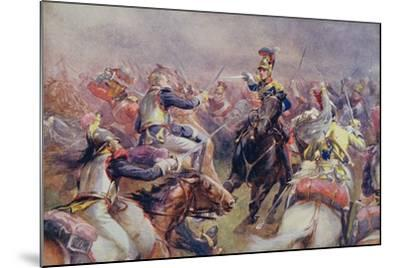 The Charge of the Heavy Brigade Against the French Cuirassiers at Waterloo, from 'British Battles…-Christopher Clark-Mounted Giclee Print