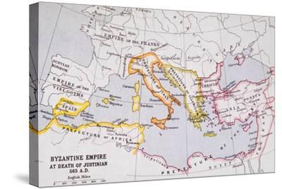 Map of the Byzantine Empire at Death of Emperor Justinian I (463-565) from 'A Literary and…-English School-Stretched Canvas Print