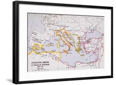 Map of the Byzantine Empire at Death of Emperor Justinian I (463-565) from 'A Literary and…-English School-Framed Giclee Print