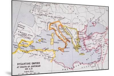 Map of the Byzantine Empire at Death of Emperor Justinian I (463-565) from 'A Literary and…-English School-Mounted Giclee Print