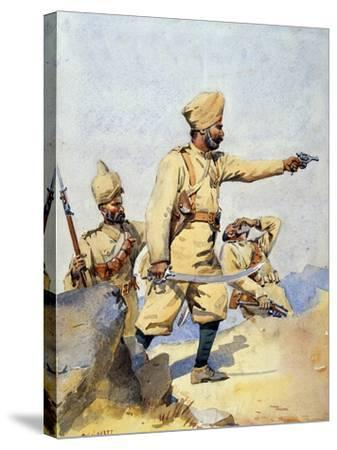 Soldiers of the 24th Punjabis Malikdin Khel (Afridi) and Subadar, Jay Sikh, Illustration for…-Alfred Crowdy Lovett-Stretched Canvas Print