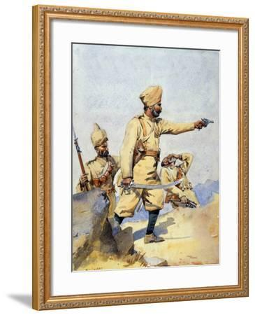 Soldiers of the 24th Punjabis Malikdin Khel (Afridi) and Subadar, Jay Sikh, Illustration for…-Alfred Crowdy Lovett-Framed Giclee Print