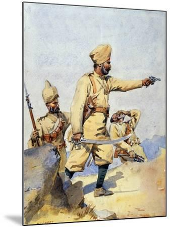 Soldiers of the 24th Punjabis Malikdin Khel (Afridi) and Subadar, Jay Sikh, Illustration for…-Alfred Crowdy Lovett-Mounted Giclee Print