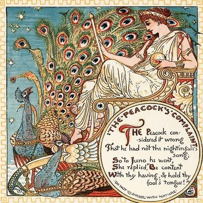 The Peacock's Complaint, Illustration from 'Baby's Own Aesop', Engraved and Printed by Edmund…-Walter Crane-Framed Giclee Print