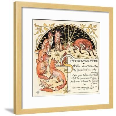 The Fox Without a Tail, Illustration from 'Baby's Own Aesop', Engraved and Printed by Edmund…-Walter Crane-Framed Giclee Print