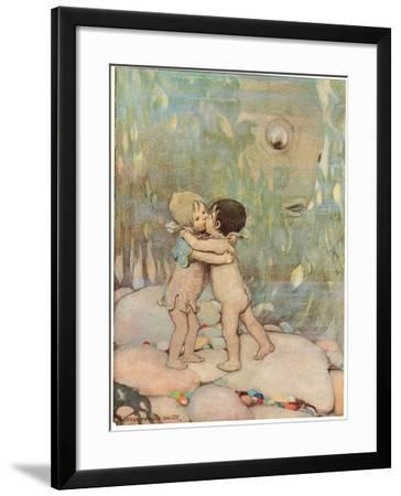 Tom and Ellie, Illustration from 'The Water Babies' by Reverend Charles Kingsley-Jessie Willcox-Smith-Framed Giclee Print