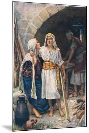 Mary and Jesus, Illustration from 'Women of the Bible', Published by the Religious Tract Society,…-Harold Copping-Mounted Giclee Print