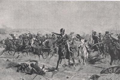 Norman Ramsay at Fuentes de Onoro, 5th May 1811, Illustration from 'British Battles on Land and…-William Barnes Wollen-Framed Giclee Print