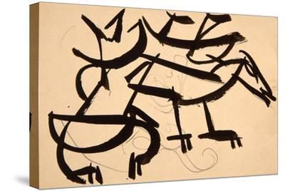 Cat Attacking Dog, 1913-Henri Gaudier-brzeska-Stretched Canvas Print