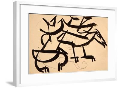 Cat Attacking Dog, 1913-Henri Gaudier-brzeska-Framed Giclee Print