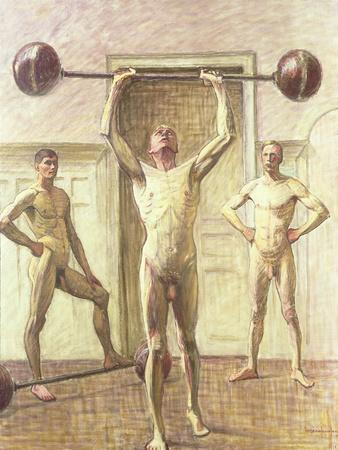 Pushing Weights with Two Arms, Number 3, 1914-Eugene Jansson-Framed Giclee Print