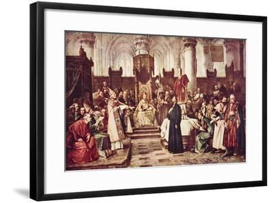 John Huss at Constance, Illustration from 'The Outline of History' by H.G. Wells, Volume II,…-Vaclav Brozik-Framed Giclee Print