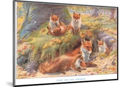 Vixen and Her Children, Illustration from 'Country Ways and Country Days'-Louis Fairfax Muckley-Mounted Giclee Print