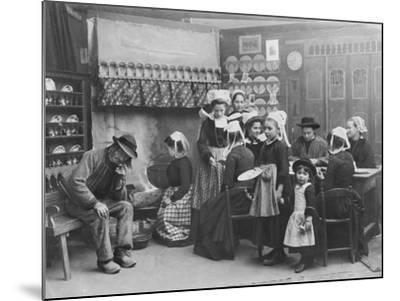 Interior of a Breton Pancake Restaurant, Finistere, c.1900-French Photographer-Mounted Photographic Print