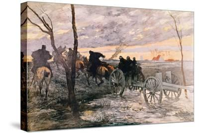 Sunset in the Valley of Yser: a 75 Cannon Being Wheeled to a Strategic Position, c.1914-Georges Bertin Scott-Stretched Canvas Print