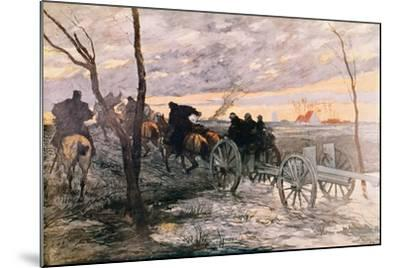 Sunset in the Valley of Yser: a 75 Cannon Being Wheeled to a Strategic Position, c.1914-Georges Bertin Scott-Mounted Giclee Print