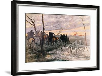 Sunset in the Valley of Yser: a 75 Cannon Being Wheeled to a Strategic Position, c.1914-Georges Bertin Scott-Framed Giclee Print