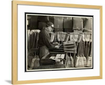 Blind Man Labeling Brooms at the Bourne Memorial Building, New York, 1935-Byron Company-Framed Giclee Print